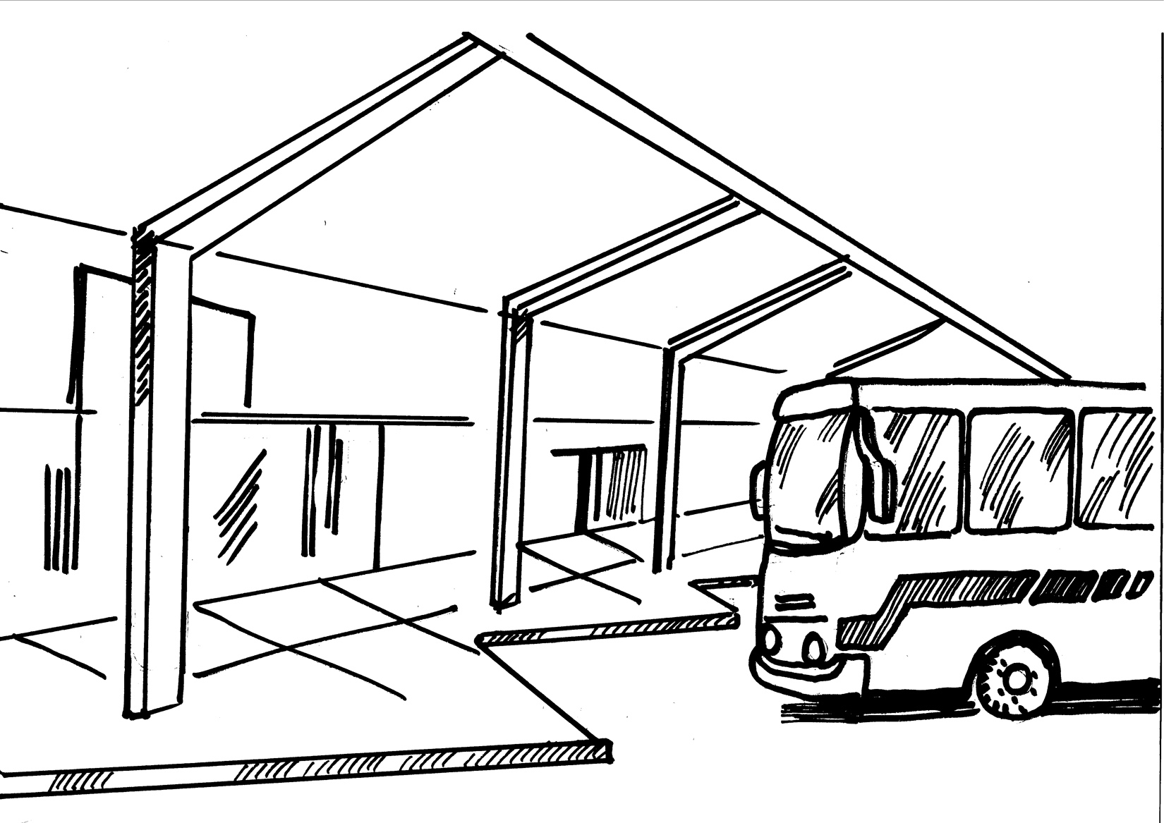 Bus station coloring pages